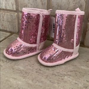 Baby Girl Pink Sequined Boots